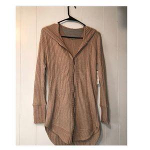 Tan long sleeve zip up cardigan